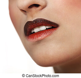 Glamour Red gloss lips with ombre effect. Close up