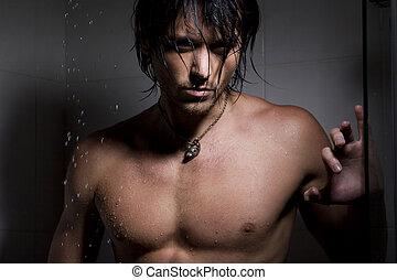 glamour, retrato, de, a, homem, ligado, jatos, de, água