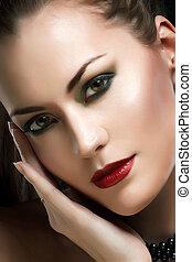 glamour, retrato, de, um, mulher bonita