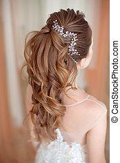 glamour, senhora, retrato, em, luxo, dress., bonito, modelo, menina, com, perfeitos, moda, maquilagem, e, hairstyle.