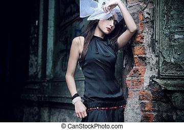 glamour, stil, foto, av, a, söt, dam