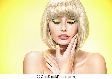 Glamour style portrait of a blond woman