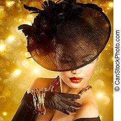 glamour, vrouw beeltenis, op, vakantie, gouden achtergrond