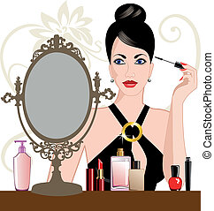 Beautiful woman on the mirror with eye self makeup, applying makeup.