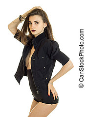 Glamour young lady in high panties and jacket without bra...