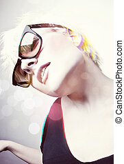 glamourous, girl, lunettes soleil, jeune