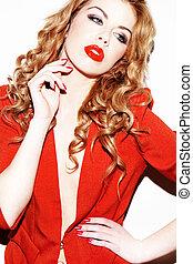 glamourous, mulher, em, vermelho
