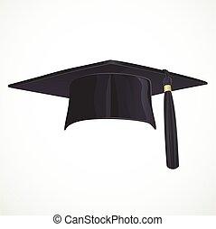 gland, isolé, universitaire, arrière-plan noir, chapeau...