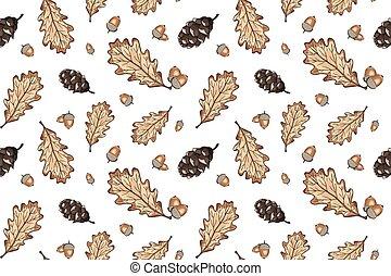 glands, toile fond., parfait, textile, feuilles, vecteur, arbre, griffonnage, papier, emballage, seamless, chêne, saisonnier, sybmols, dessiné, main, papier peint, modèle, automne