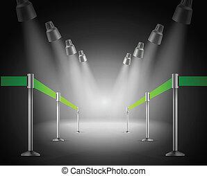 glanste, illustratie, vector, groene, weg, entrance.