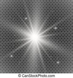 glanz, bersten, dekoration, hell, sparkles., texture., strahl, transparent., steigung, glühen, glitzer, weißes, explosion, effekt, abbildung, durchsichtig, kühl, scheinen, licht, star., flare., vektor