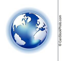 glanzen, kaart, globe, blauwe achtergrond