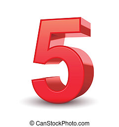 glanzend, 5, getal, rood, 3d