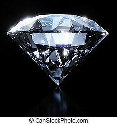 glanzend, diamant, black , vrijstaand, achtergrond