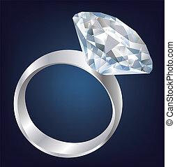 glanzend, diamant, helder, ring.