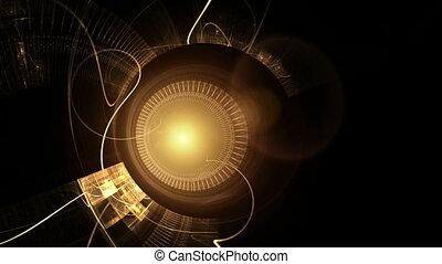 glanzend, gouden, metaal, de wielen van het toestel, met, vuurpijl, oud, klokken samenstel van bewegende delen
