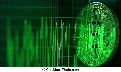 glanzend, grafiek, scherm, bitcoin, computer, groene, data, weerspiegelt