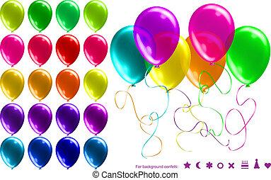 glanzend, helder, set, ballons