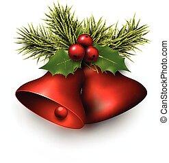 glanzend, kerstmis, bells., rood