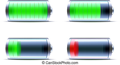 glanzend, pictogram, batterij, indicator, niveau