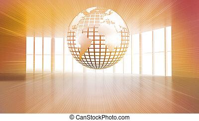 glanzend, planeet, zwevend, in, sinaasappel, kamer