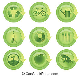 glanzend, richtingwijzer, ecologisch, pictogram, set