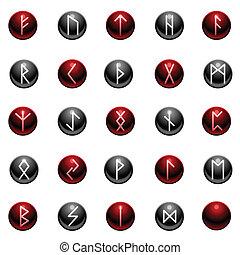 glanzend, set, rune