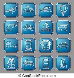 glanzend, vervoeren, iconen