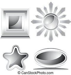 glanzend, witte , set, black , pictogram