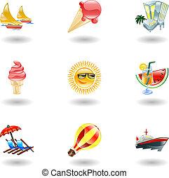 glanzend, zomer, iconen