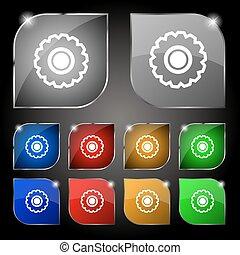 glare., kleurrijke, knopen, tien, set, pictogram, tandrad, teken., vector