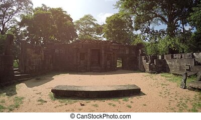 Glaring Sun over Ancient Royal Courtyard in Polonnaruwa, Sri Lanka