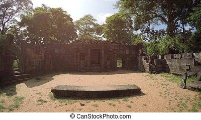 Glaring Sun over Ancient Royal Courtyard in Polonnaruwa, Sri Lanka