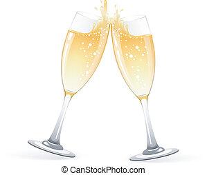 glasögon, champagne