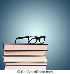 glasögon, med, böcker