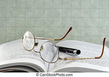 glasögon, med, penna