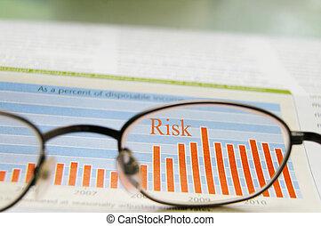 glasögon, och, aktie tablå, visande, riskera