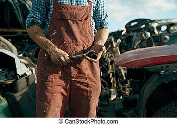 glasögon, skrotupplag, manlig, mekaniker, svetsning, bil