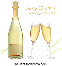 glasögon, två, champagne, bottel