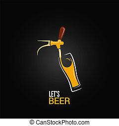 glas, öl tappa, bakgrund, design
