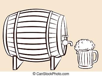 glas., öl, vektor, kagge, design