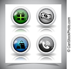 glas, abstract, buttons., eps10, file.