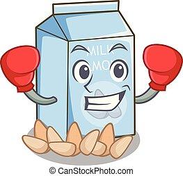 glas, amandel, karakter, boxing, melk