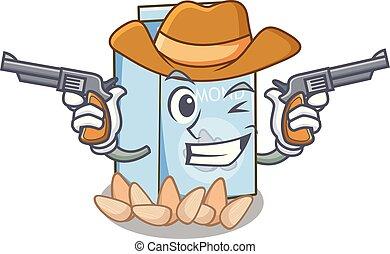 glas, amandel, karakter, melk, cowboy