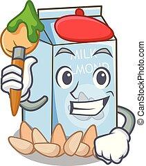 glas, amandel, karakter, melk, kunstenaar