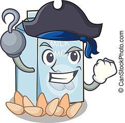 glas, amandel, karakter, melk, zeerover