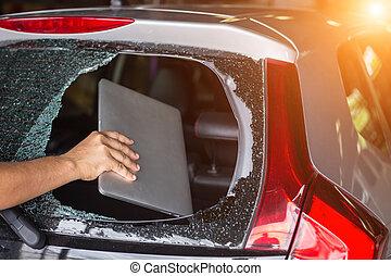 glas, auto, draagbare computer, terug hand, kapot, diefstal, bovenkant, achterkant