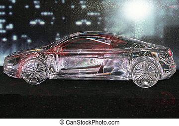 glas, auto, model