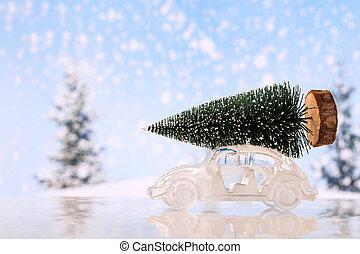 glas, auto., spielzeug, baum, weihnachten