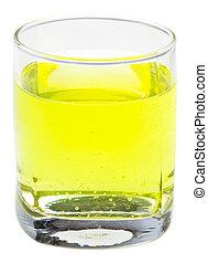 glas, av, gul, kolsyrad vatten, med, vitamin c